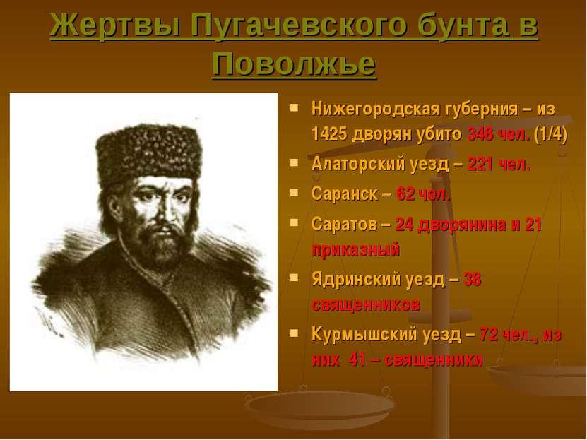 Жертвы Пугачевского бунта в Поволжье Нижегородская губерния – из 1425 дворян ...