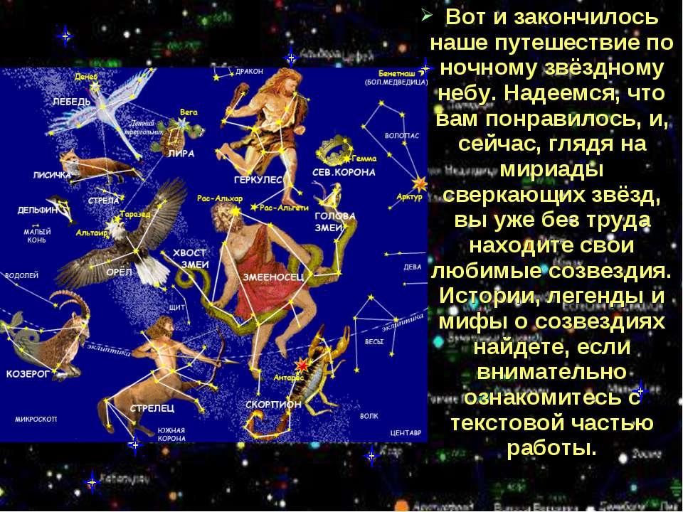 Вот и закончилось наше путешествие по ночному звёздному небу. Надеемся, что в...