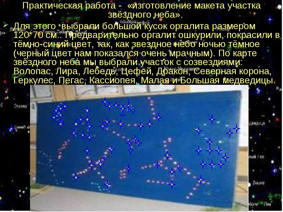 Практическая работа - «изготовление макета участка звёздного неба». Для этого...