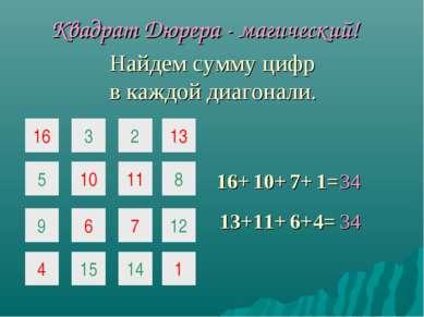 16 3 2 5 10 11 9 6 7 Квадрат Дюрера - магический! 16+ 10+ 7+ 13+ 11+ 6+ 4= 4 ...