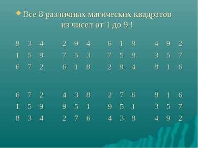 Все 8 различных магических квадратов из чисел от 1 до 9 ! 8 3 4 1 5 9 6 7 2 2...