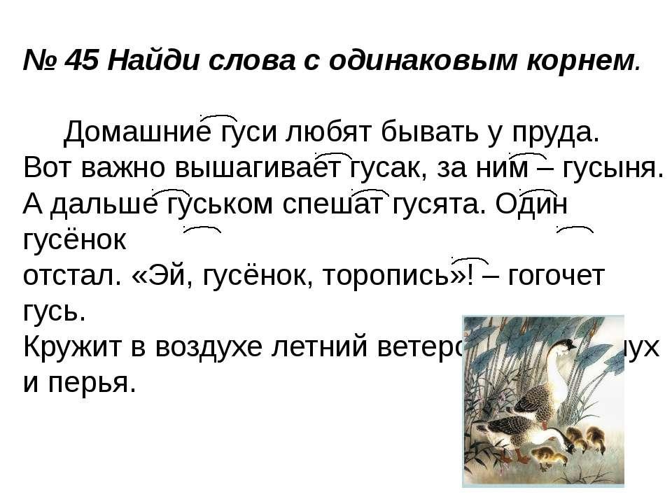 № 45 Найди слова с одинаковым корнем. Домашние гуси любят бывать у пруда. Вот...