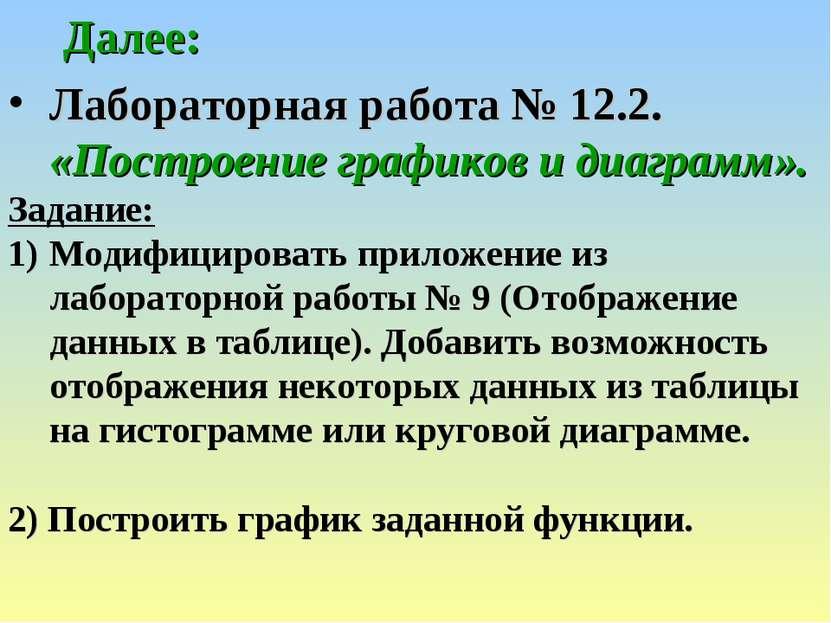 Далее: Лабораторная работа № 12.2. «Построение графиков и диаграмм». Задание:...