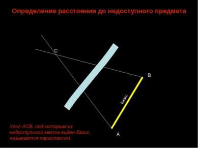 Определение расстояниядонедоступного предмета С А В Базис Угол АСВ, под кот...