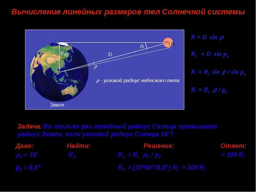 Вычисление линейных размеров тел Солнечной системы R = D sin R⊕ = D sin po R ...