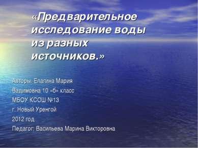 «Предварительное исследование воды из разных источников.» Авторы: Елагина Мар...