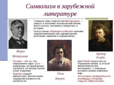 Символизм в зарубежной литературе Для Рембо искусство не отражение жизни, а с...