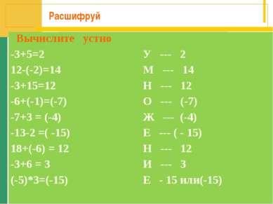 Расшифруй Вычислите устно -3+5=2 У --- 2 12-(-2)=14 М --- 14 -3+15=12 Н --- 1...