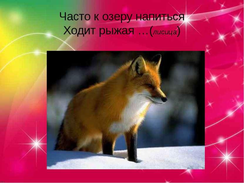 Часто к озеру напиться Ходит рыжая …(лисица)