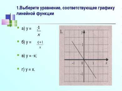 1.Выберите уравнение, соответствующее графику линейной функции а) y = ; б) y ...