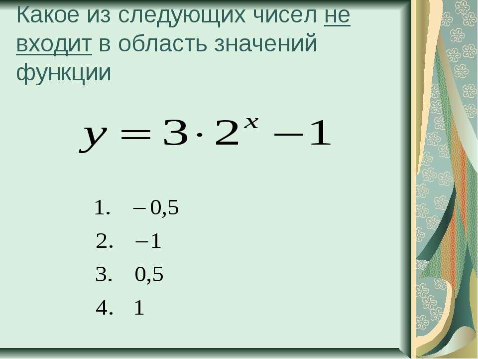 Какое из следующих чисел не входит в область значений функции