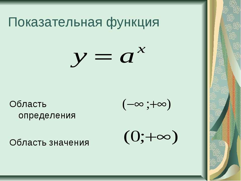 Показательная функция Область определения Область значения