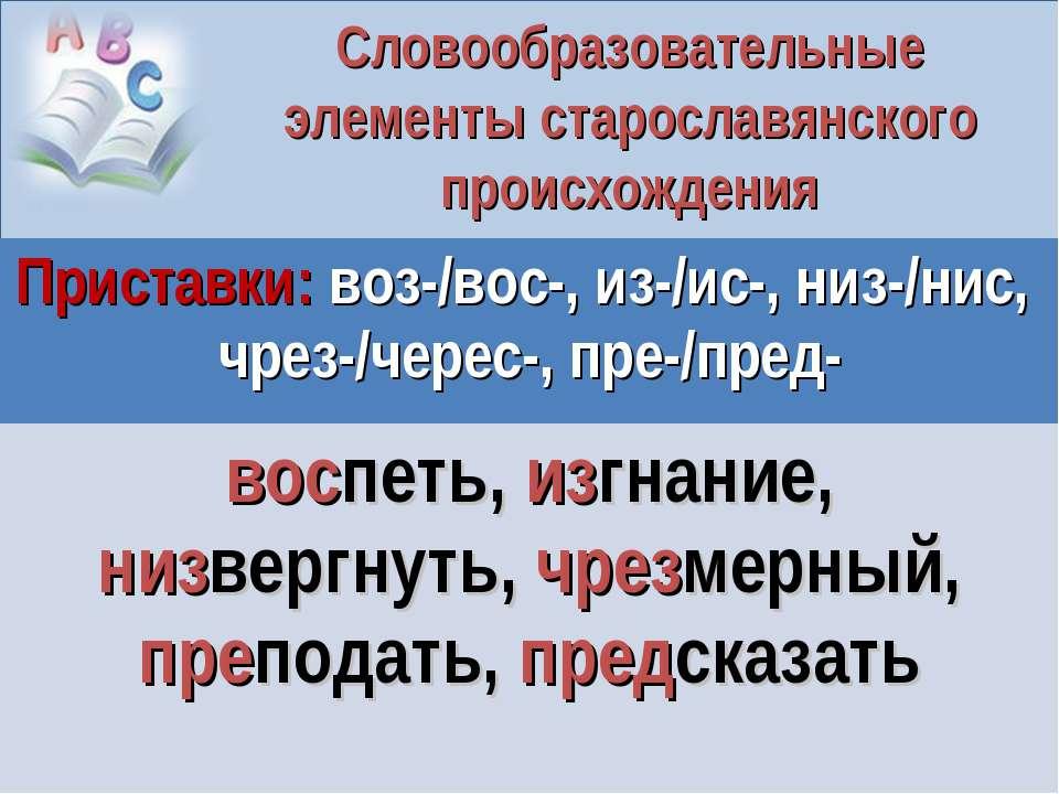 Словообразовательные элементы старославянского происхождения Приставки: воз-/...
