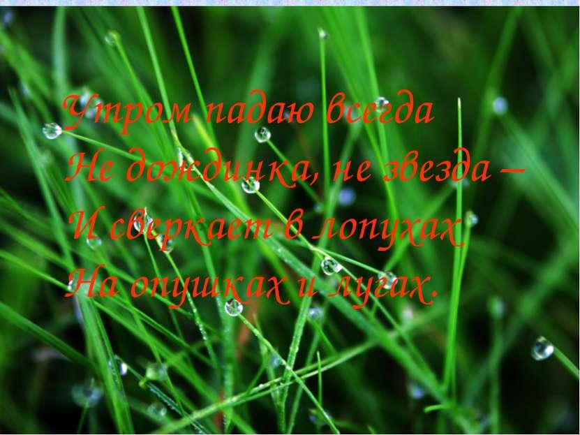 Утром падаю всегда Не дождинка, не звезда – И сверкает в лопухах На опушках и...