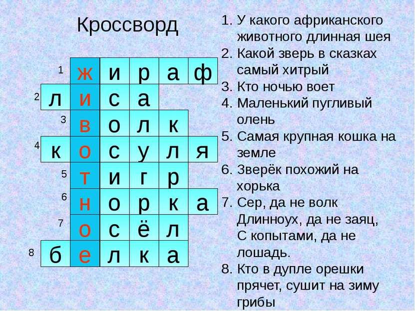 Кроссворд ж р и а ф и с в а л о к л к о с л у я т г и о р н р к о с ё л а е б...