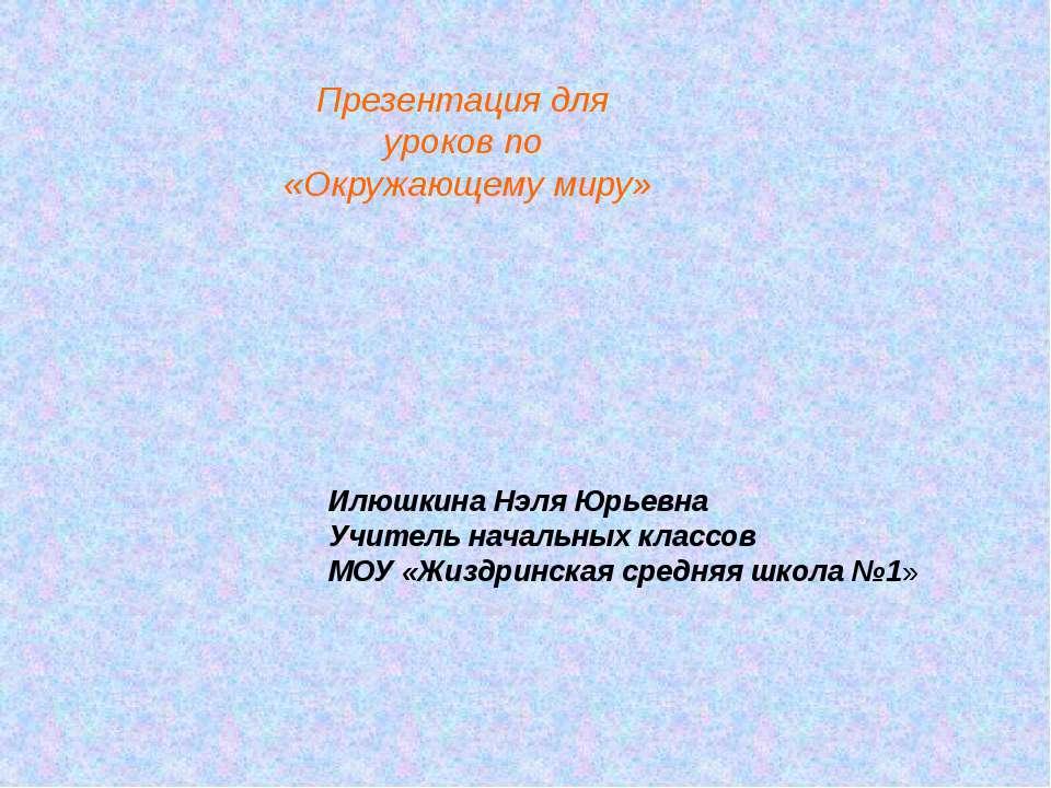 Презентация для уроков по «Окружающему миру» Илюшкина Нэля Юрьевна Учитель на...