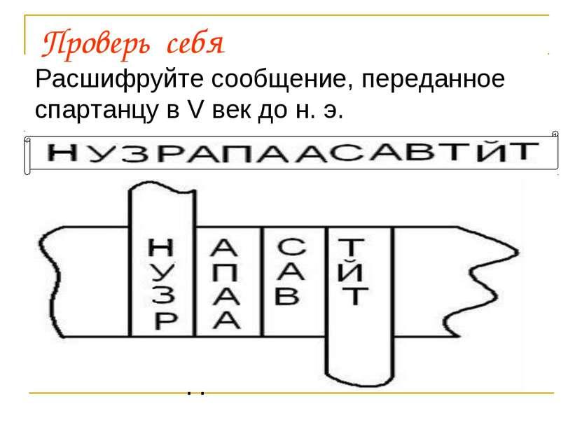 Проверь себя Расшифруйте сообщение, переданное спартанцу в Vвек до н. э. Алг...