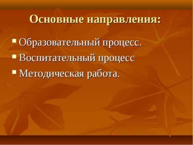 Основные направления: Образовательный процесс. Воспитательный процесс Методич...