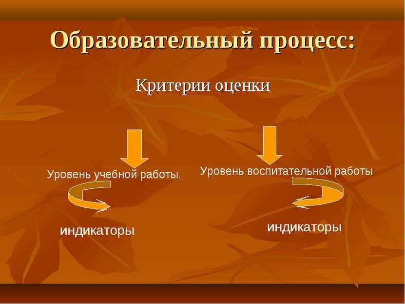 Образовательный процесс: Критерии оценки Уровень учебной работы. Уровень восп...
