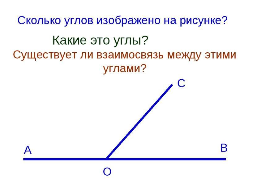 Существует ли взаимосвязь между этими углами? А С В О Сколько углов изображен...