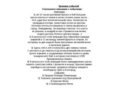 Хроника событий Соотнесите описание с событием: Описание: 1) «В 12 часов прот...