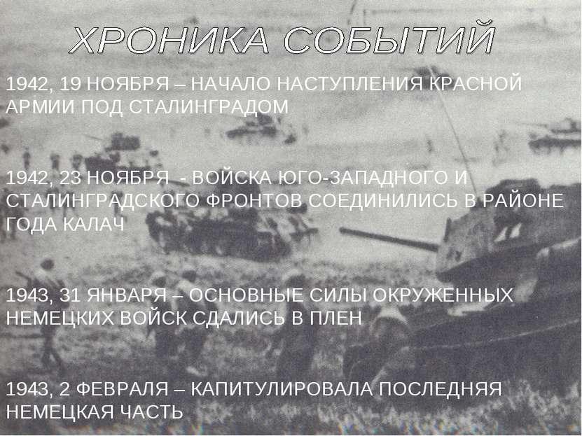 1942, 19 НОЯБРЯ – НАЧАЛО НАСТУПЛЕНИЯ КРАСНОЙ АРМИИ ПОД СТАЛИНГРАДОМ 1942, 23 ...