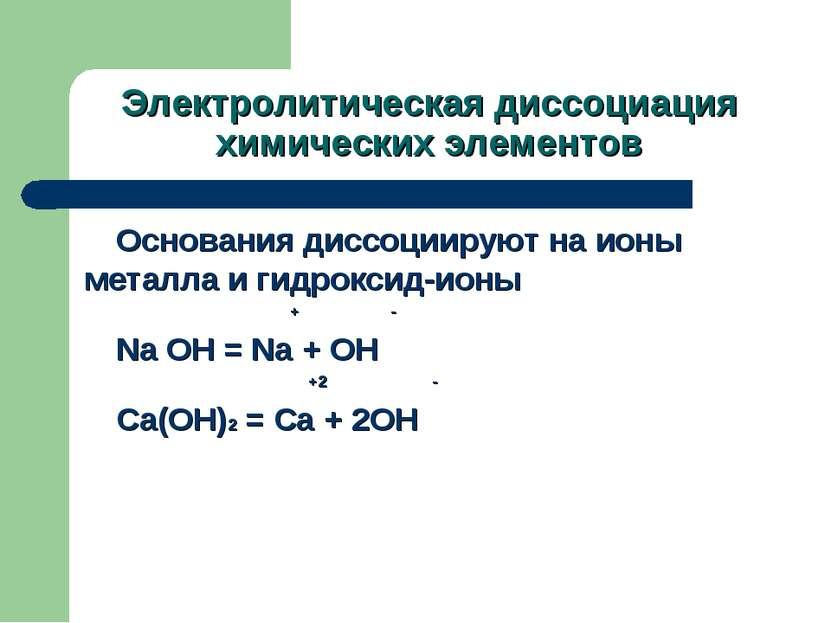 Электролитическая диссоциация химических элементов Основания диссоциируют на ...