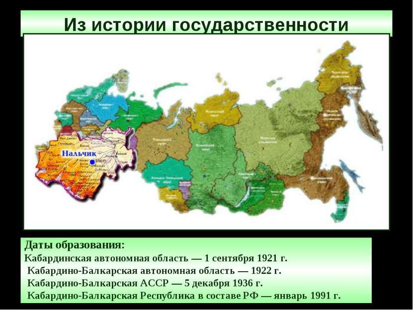 Из истории государственности Даты образования: Кабардинская автономная облас...