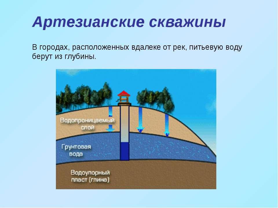 Артезианские скважины В городах, расположенных вдалеке от рек, питьевую воду ...
