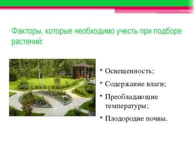 Факторы, которые необходимо учесть при подборе растений: Освещенность; Содерж...