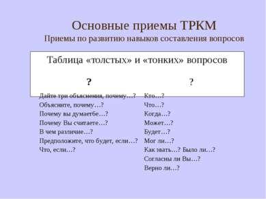 Основные приемы ТРКМ Приемы по развитию навыков составления вопросов Таблица ...
