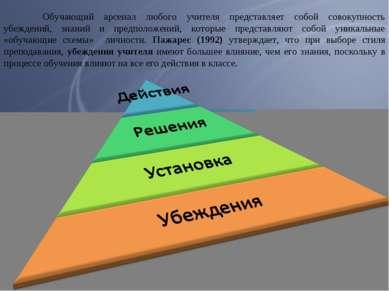Обучающий арсенал любого учителя представляет собой совокупность убеждений, з...