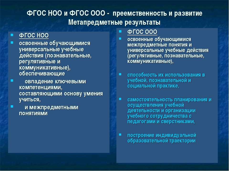 ФГОС НОО и ФГОС ООО - преемственность и развитие Метапредметные результаты ФГ...