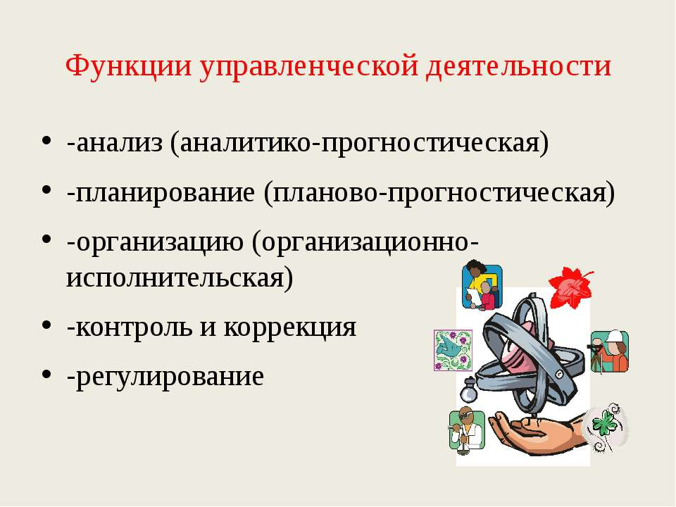 Функции управленческой деятельности -анализ (аналитико-прогностическая) -план...