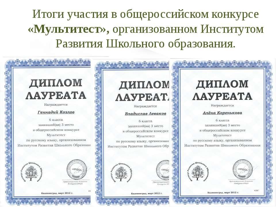 Итоги участия в общероссийском конкурсе «Мультитест», организованном Институт...