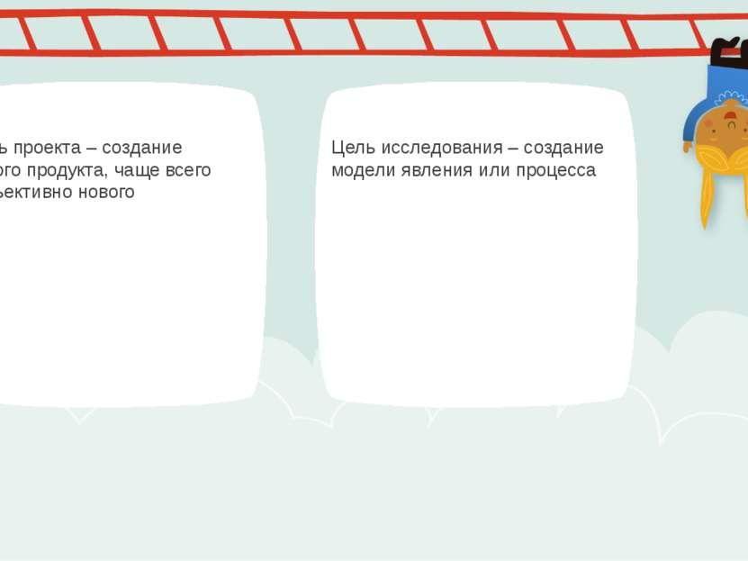 Цель проекта – создание нового продукта, чаще всего субъективно нового Цель и...
