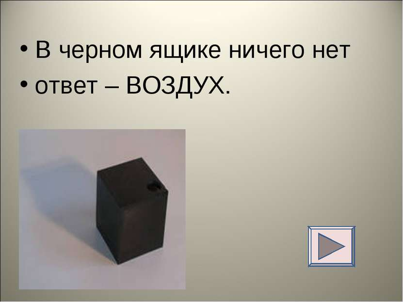 В черном ящике ничего нет ответ – ВОЗДУХ.