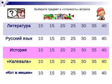 Выберите предмет и «стоимость» вопроса Литература 10 15 20 25 30 35 40 Русски...