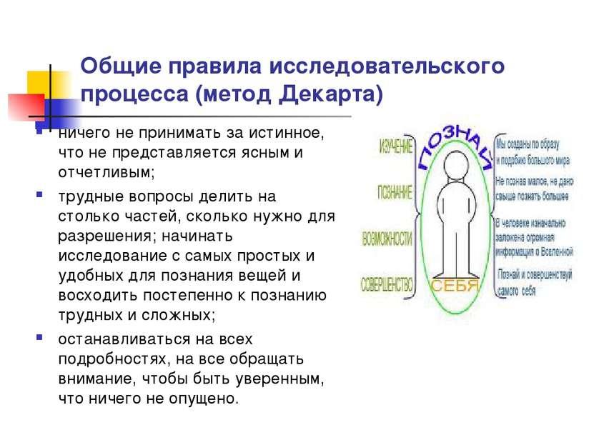 Общие правила исследовательского процесса (метод Декарта) ничего не принимать...