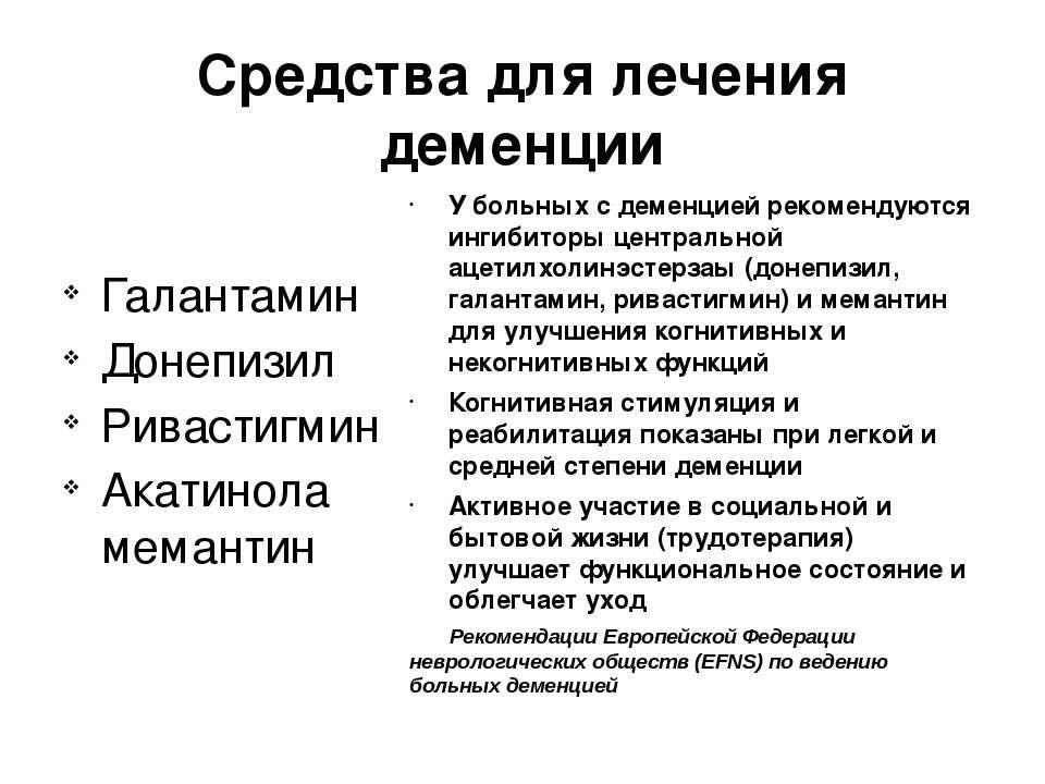 Средства для лечения деменции Галантамин Донепизил Ривастигмин Акатинола мема...