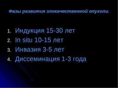 Фазы развития злокачественной опухоли. Индукция 15-30 лет In situ 10-15 лет И...