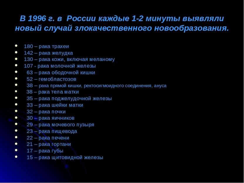 В 1996 г. в России каждые 1-2 минуты выявляли новый случай злокачественного н...