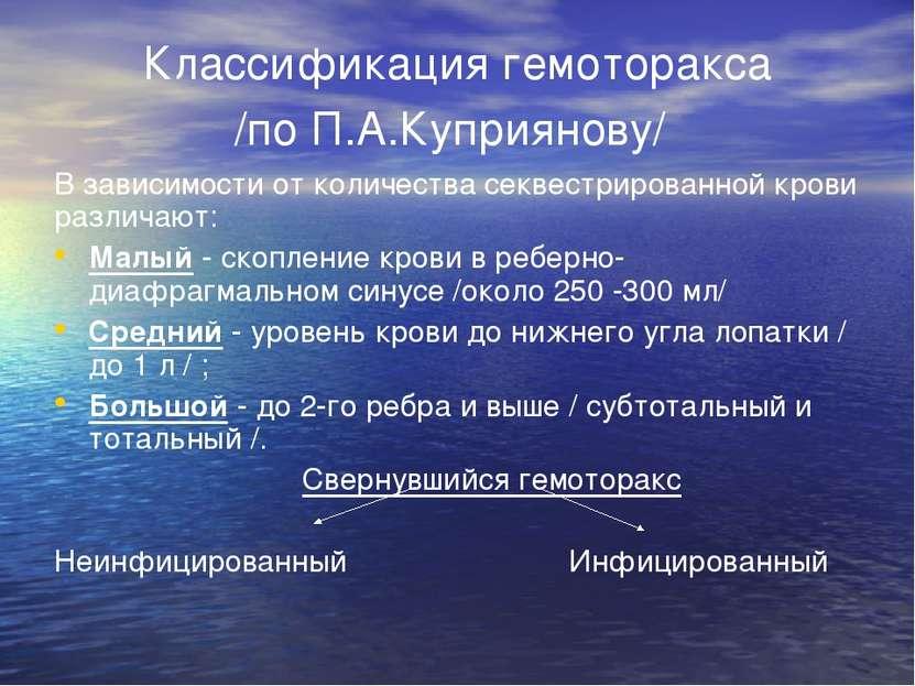 Классификация гемоторакса /по П.А.Куприянову/ В зависимости от количества сек...