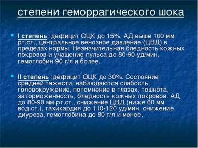 степени геморрагического шока I степень :дефицит ОЦК до 15%. АД выше 100 мм р...