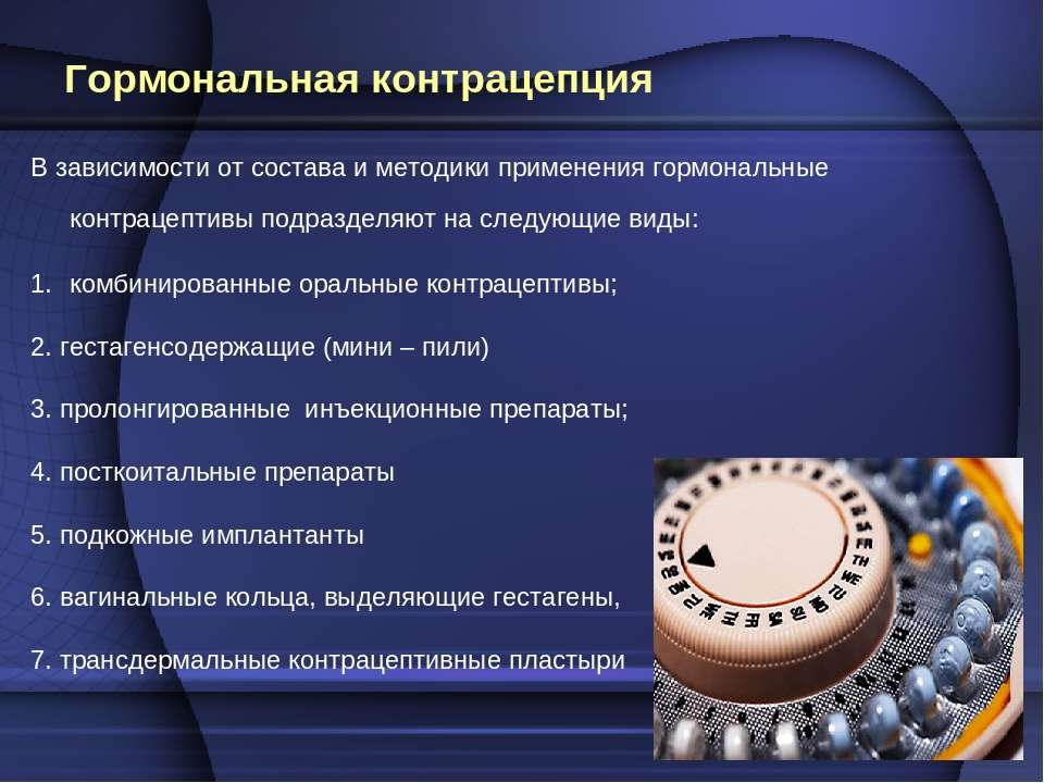 Гормональная контрацепция В зависимости от состава и методики применения горм...