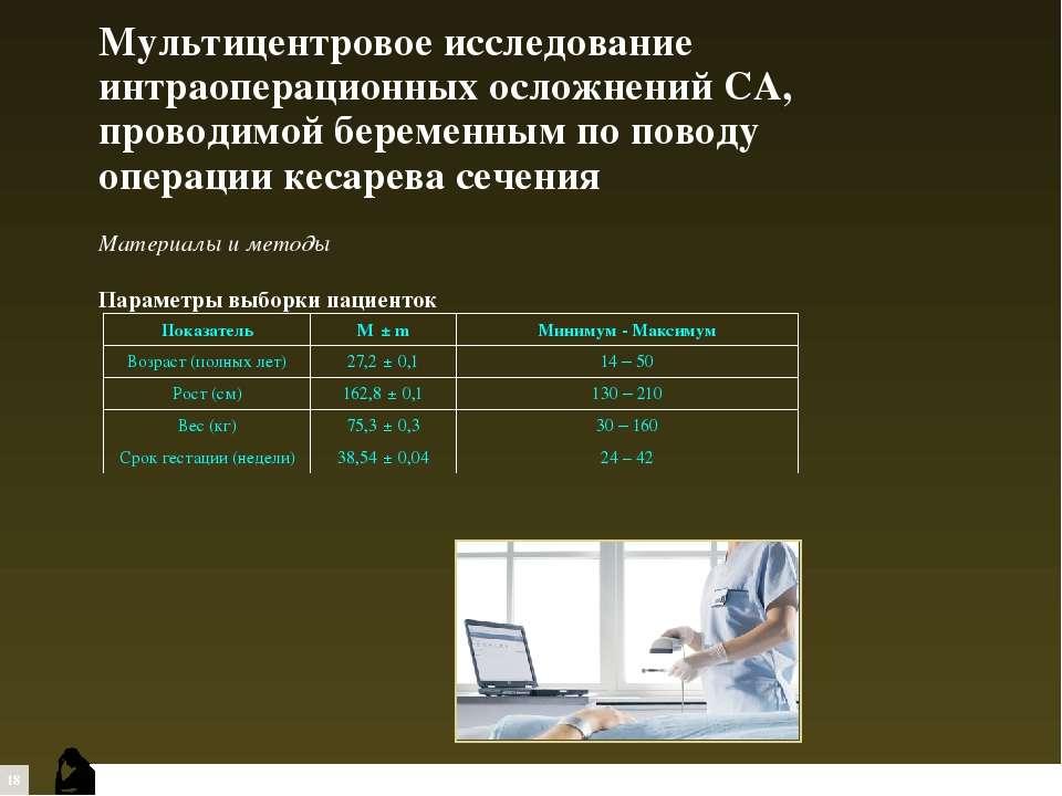 Материалы и методы Параметры выборки пациенток Мультицентровое исследование и...