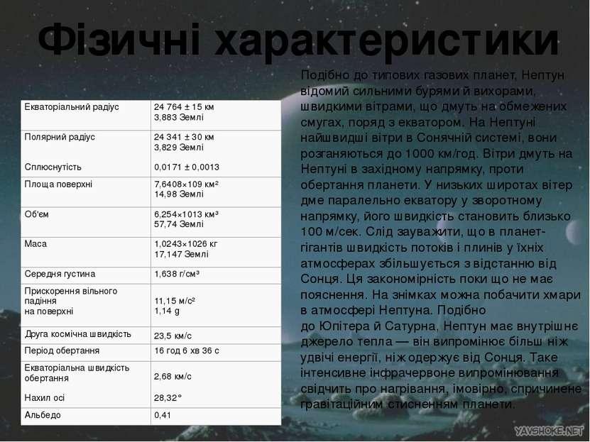 Фізичні характеристики Подібно до типових газових планет, Нептун відомий силь...