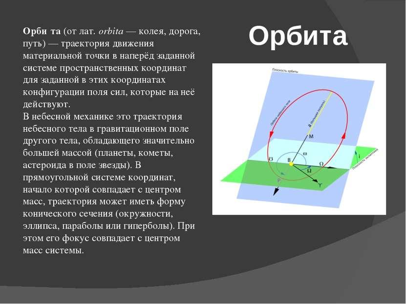 Орбита Орби та (от лат.orbita— колея, дорога, путь)— траектория движения м...