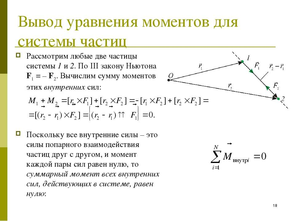 Вывод уравнения моментов для системы частиц Рассмотрим любые две частицы сист...