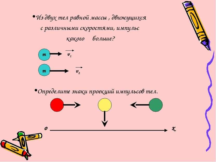 Из двух тел равной массы , движущихся с различными скоростями, импульс какого...